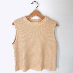 Vintage Nude Ribbed Knit Cropped Sleeveless Top